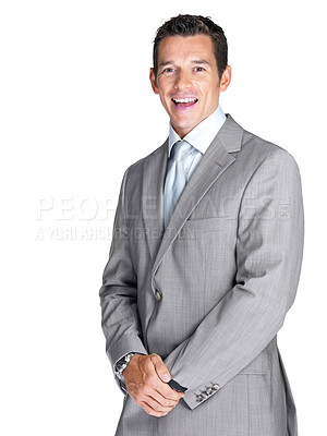 Buy stock photo Portrait of a happy young male business executive laughing against white background