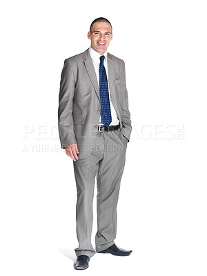 Buy stock photo Portrait of a successful young male entrepreneur smiling over white background