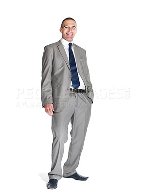 Buy stock photo Portrait of a smiling young male business executive looking confidently over white background