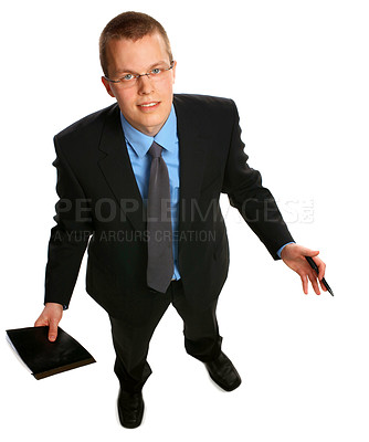 Buy stock photo Puzzled businessman