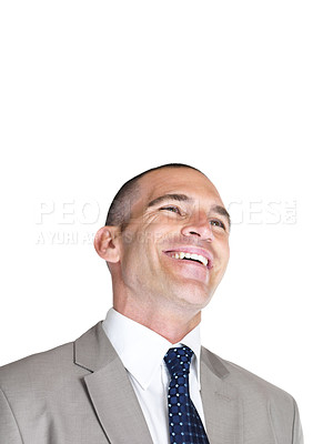 Buy stock photo Portrait of a happy young business man looking at something interesting against white background