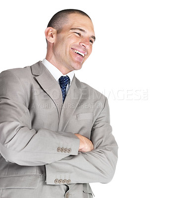Buy stock photo Portrait of a successful young male business executive looking at copyspace against white background
