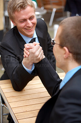 Buy stock photo Two competing businessmen arm wrestling. Symbolic picture - Rivalry, challenge, playfulness