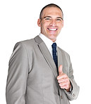 Happy young business man showing thumbs up sign
