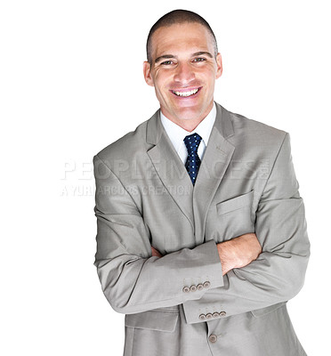 Buy stock photo Portrait of a handsome young male entrepreneur standing with folded hand against white background