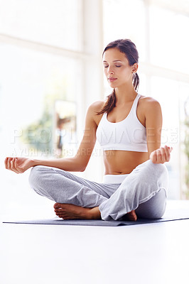 Buy stock photo Portrait of pretty young woman doing yoga exercise on mat