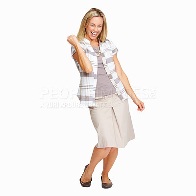 Buy stock photo Full length of excited mature woman celebrating success on white background