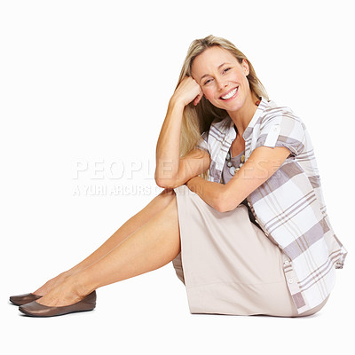 Buy stock photo Full length of beautiful mature woman relaxing over white background