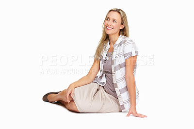 Buy stock photo Full length of beautiful mature woman looking at copyspace isolated on white background