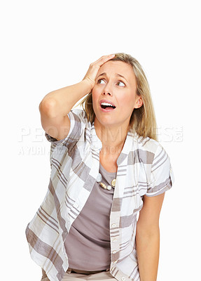 Buy stock photo Stressed mature business woman with hand on head over white background