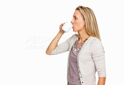 Buy stock photo Portrait of mature woman having cup of tea over white background - copyspace