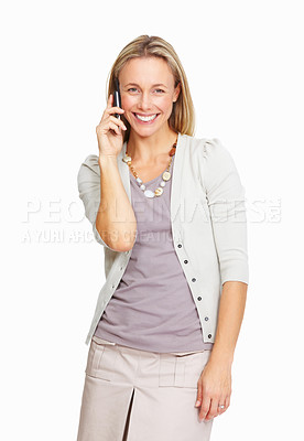 Buy stock photo Portrait of executive business woman talking on her cellphone over white background