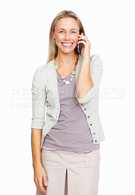 Buy stock photo Portrait of smiling business executive woman using mobile phone