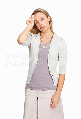 Buy stock photo Portrait of exhausted business woman in pain on white background