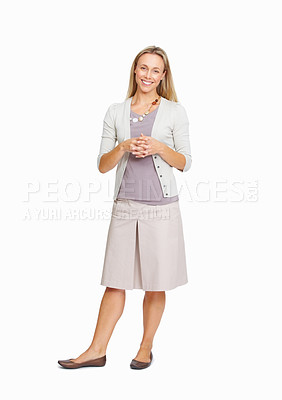 Buy stock photo Full length of beautiful business woman with hands clasped on white background