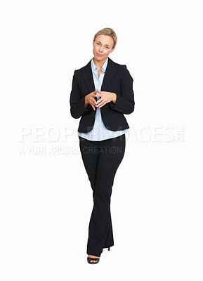 Buy stock photo Full length of successful business woman with fingers joined over white background