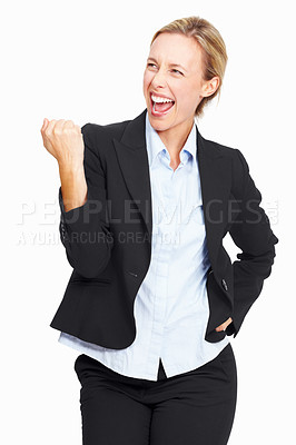 Buy stock photo Portrait of successful executive very excited woman on white background
