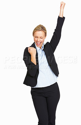 Buy stock photo Portrait of successful business woman raising her arm in joy on white background
