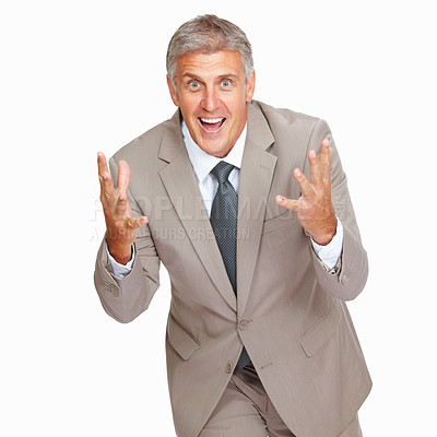 Buy stock photo Studio shot of an excited  mature businessman against a white background
