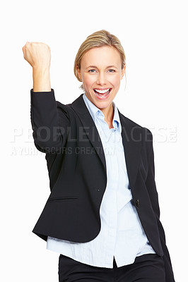 Buy stock photo Portrait of business woman celebrating success over white background