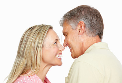 Buy stock photo Portrait of romantic mature couple over white background