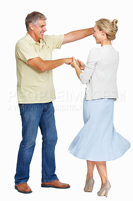 Buy stock photo Portrait of happy mature couple with dancing pose over white background