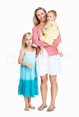 Buy stock photo Full length of beautiful mother with her children over white background