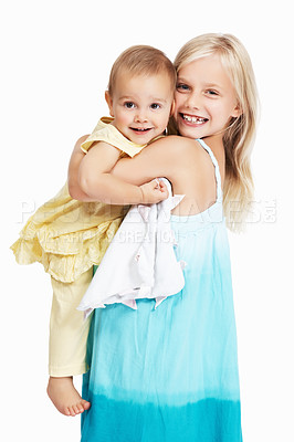 Buy stock photo Full length of young girl carrying her sister over white background