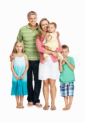 Buy stock photo Full length of happy family standing together on white background