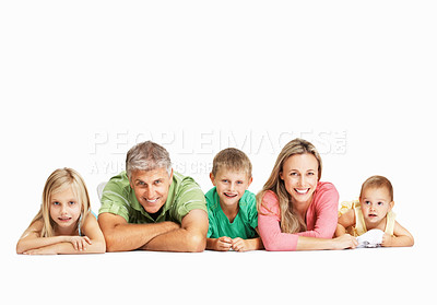Buy stock photo Happy family having fun together on the floor isolated on a white background