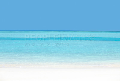 Buy stock photo Panoramic view of a beautiful beach with clear blue sky - Paradise