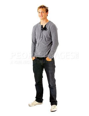 Buy stock photo Full length studio shot of a young man isolated on white