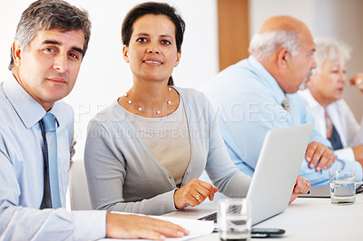 Buy stock photo Mature business associates with laptop with senior associates in the background