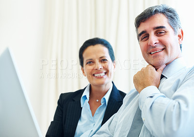 Buy stock photo Portrait of successful happy mature business couple smiling