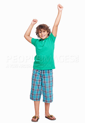Buy stock photo Isolated portrait of a little boy raising hands on white background