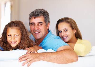 Buy stock photo Family portrait of mature father with his daughters