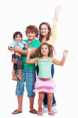 Buy stock photo Portrait of happy little children standing in studio on white background