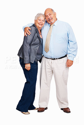 Buy stock photo Happy business couple embracing on white background