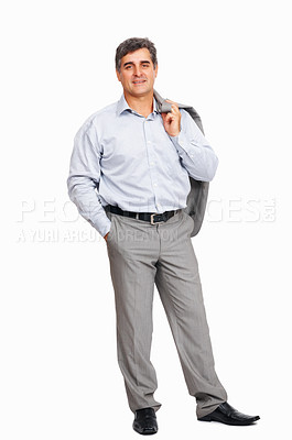 Buy stock photo Full length of happy business man holding coat over shoulders on white background