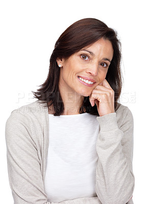 Buy stock photo Portrait of a beautiful young woman smiling with hand on chin against white background
