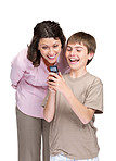 Happy little boy and his mother reading a funny sms on mobile