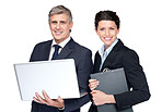 Smiling businesspeople working together on white