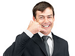 Smiling young businessman giving call me gesture on white