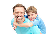 Smiling man giving his son piggyback ride