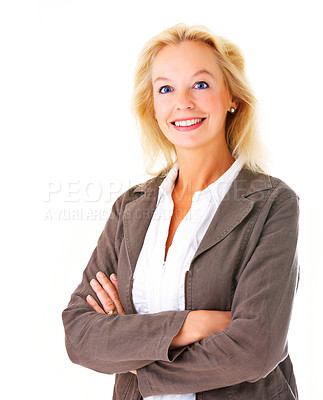 Buy stock photo Portrait of a positive-looking mature businesswoman smiling at the camera isolated on a white background