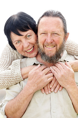 Buy stock photo Portrait of old couple smiling together against white background