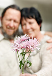 Portrait of pink flowers in front with a old couple in background
