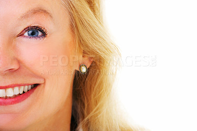 Buy stock photo Cropped closeup portrait of an attractive mature woman isolated on white