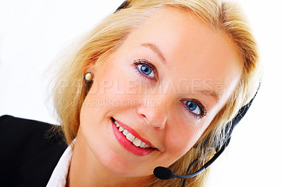 Buy stock photo Closeup portrait of a mature businesswoman talking on a headset isolated on white