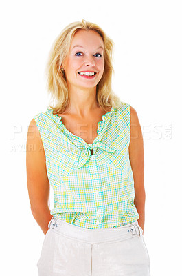 Buy stock photo Portrait of a mature  woman isolated on a white background.